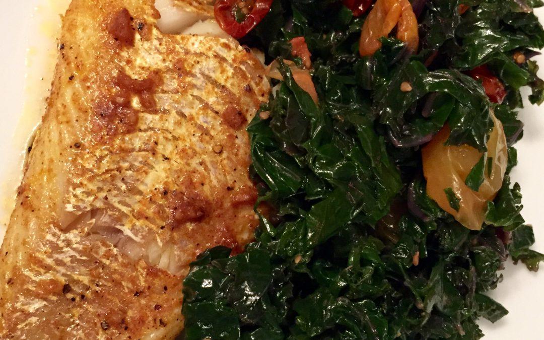 Baked Cod & Steamed Kale Salad
