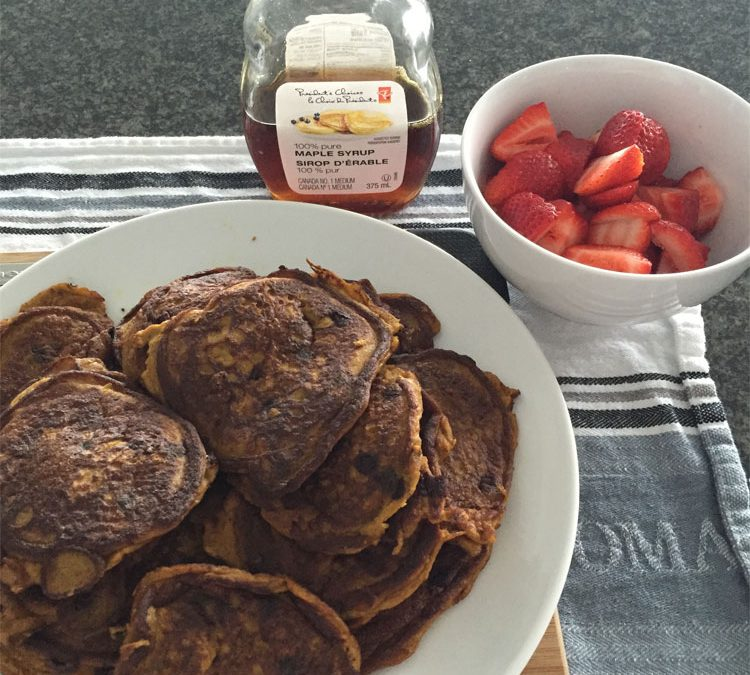 Chocolate Sweet Potato Coconut Pancakes